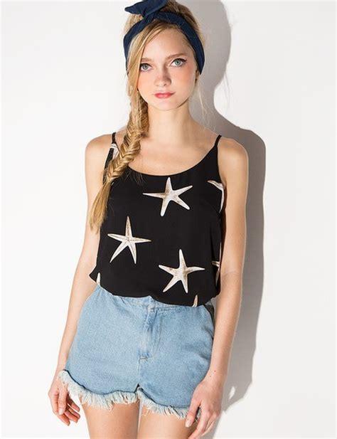 1596 Tank Top Korean Blouse blouse black summer starfish top summer top black top starfish starfish tank