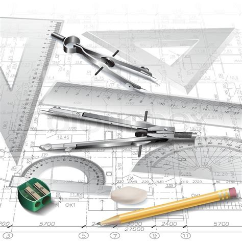 architecture drawing tool architectural background with drawing tools and technical