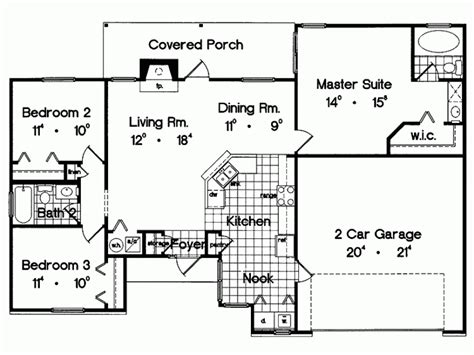 eplans ranch house plan three bedroom ranch 1300