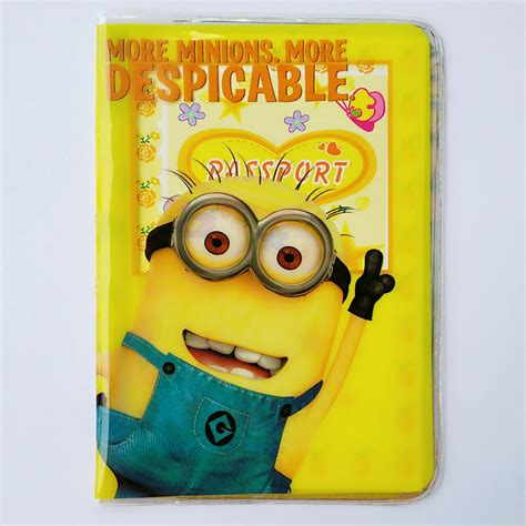 Tempat Pasport Id Card Minion 2015 despicable me minions passport cover pvc credit card holder travel abroad