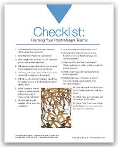 checklist merger integration teams team members leader
