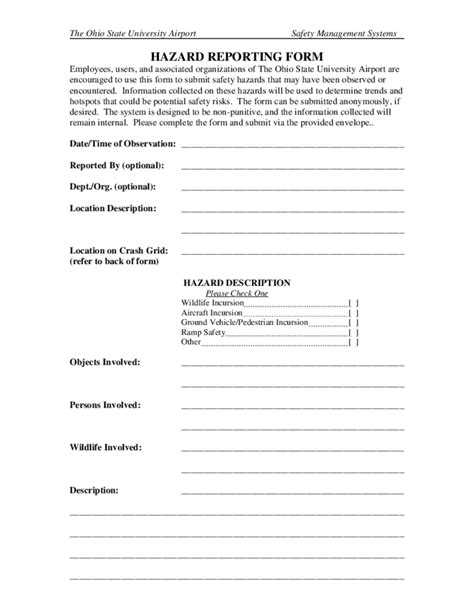 hazard report sle hazard report template 28 images safety hazard report