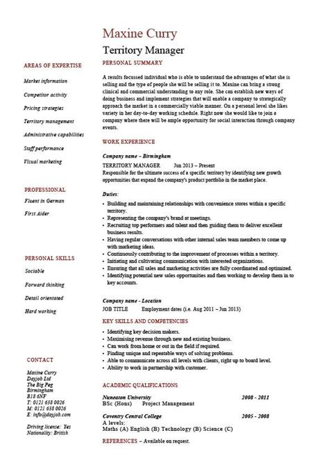 territory manager resume regional description sle exle template sales marketing