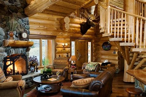 Log Home Decor Log Cabin Living Room Decorating Ideas Images