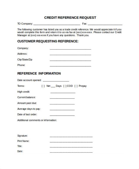 Business Credit Application Letter 20 Business Reference Letter Exles
