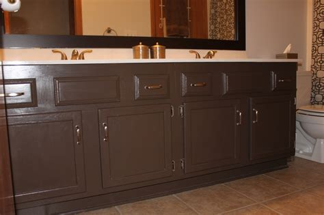 brown painted bathrooms dark brown paint bathroom cabinets painting bathroom cabinets sometimes homemade tsc
