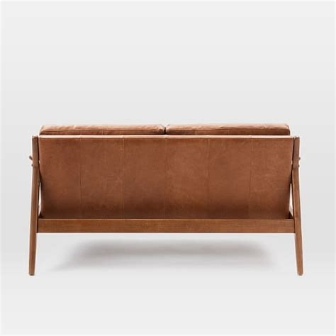 leather sofa wooden frame mathias mid century wood frame leather sofa west elm