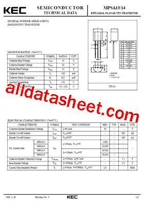 transistor mpsa13 datasheet mpsa13 datasheet pdf kec korea electronics
