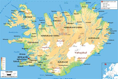 large map large detailed physical map of iceland with all roads