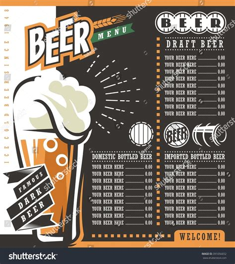 bar price list template menu retro design template pub price list with
