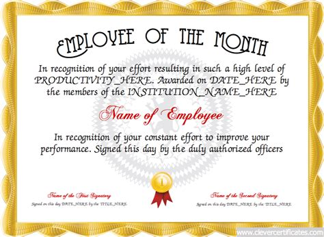 employee of month template employee of the month free certificate templates for