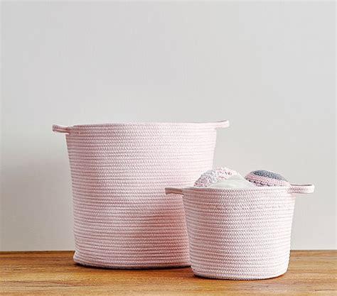 Cotton Storage light pink sloan cotton rope storage pottery barn