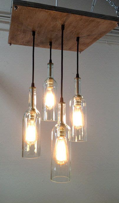 Industrial Chic Chandelier Recycled Wine Bottle Chandelier Industrial Chandelier Cottage Chic Lighting Industrial