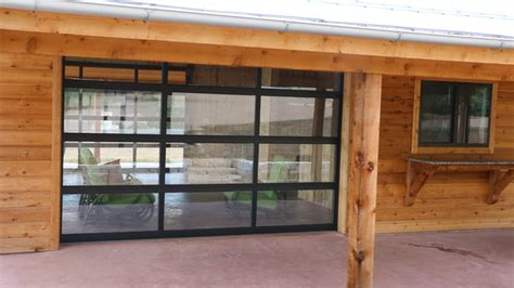 Overhead Glass Doors Entertainment Room With Overhead Glass Garage Door Contemporary Garage By Cedar