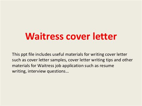 cover letter exles for waitress waitress cover letter