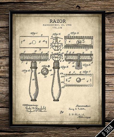 vintage bathroom printables vintage patent gillette razor vintage prints patent
