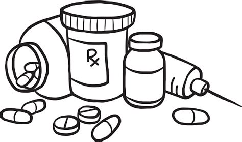 medicine clipart black and white pencil and in color