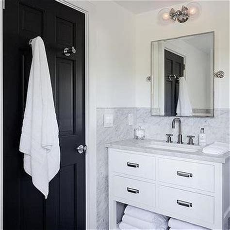 Black Bathroom Towel Hooks Black And White Bathroom With Marble And Glass Washstand