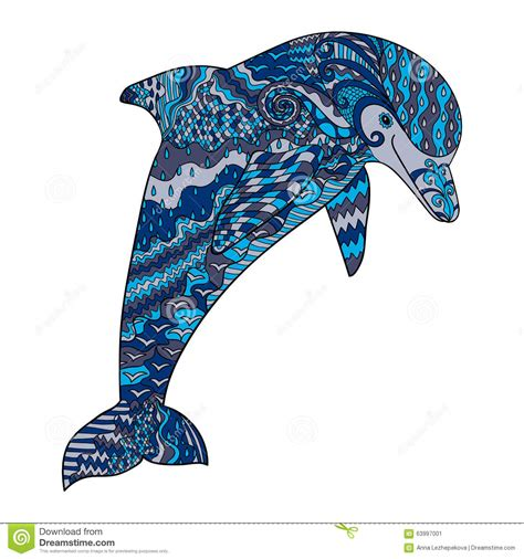 Color Hand Drawn Doodle Dolphin Stock Vector Image