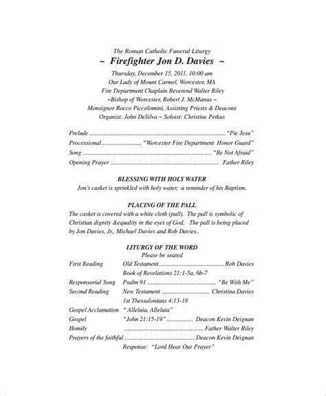 funeral mass program template sle catholic funeral program 12 documents in pdf