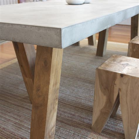 Concrete Kitchen Tables Obi Recycled Teak And Concrete Dining Table The Block Shop