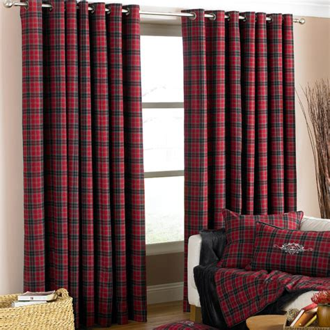 cranberry curtains uk paoletti vald isere tartan check lined eyelet curtains