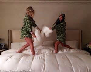 khloe and kourtney a pillow fight in