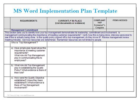 ms word implementation plan template microsoft word