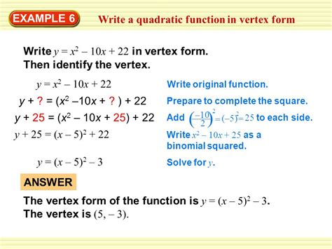 exle 6 write a quadratic function in vertex form ppt