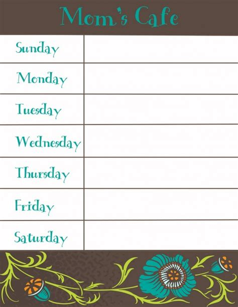 printable weekly menu template 8 best images of free printable weekly dinner menu and