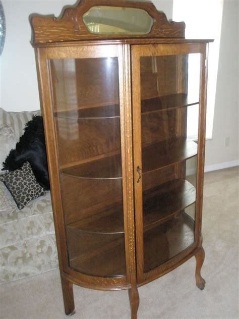 antique curved glass china cabinet value antique larkin co oak china cabinet curved glass