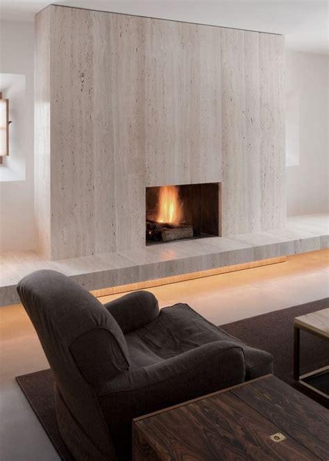 travertine fireplace by pawson warm minimal