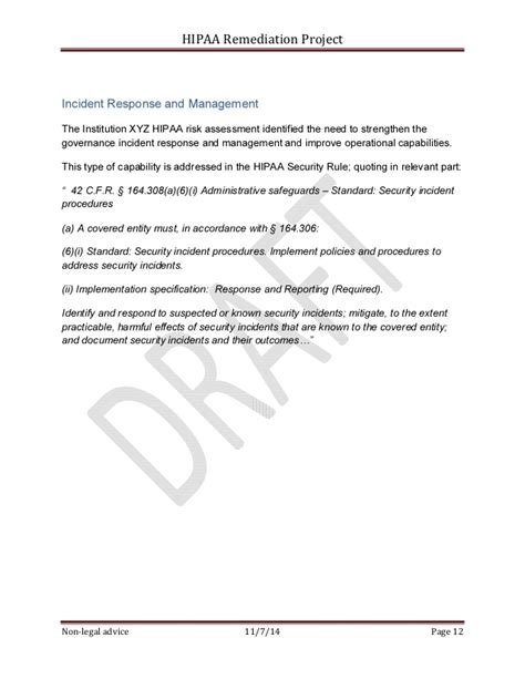 sample hipaa security rule corrective action plan project