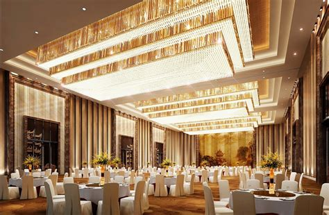 Luxurious banquet hall lighting and wall design rendering
