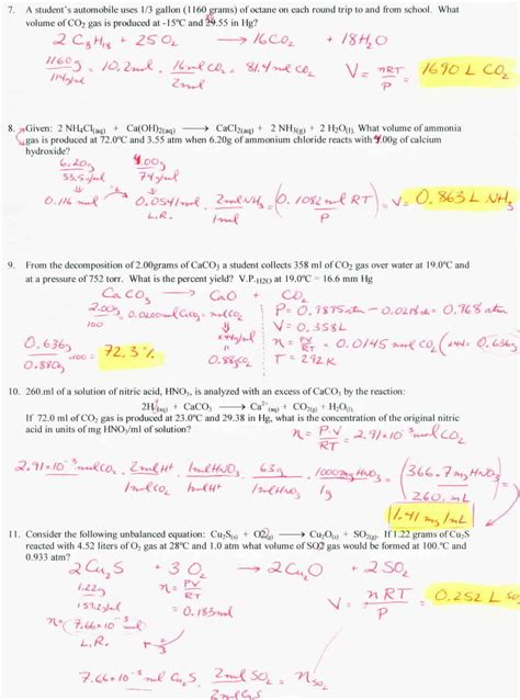 Gas Stoichiometry Worksheet With Solutions