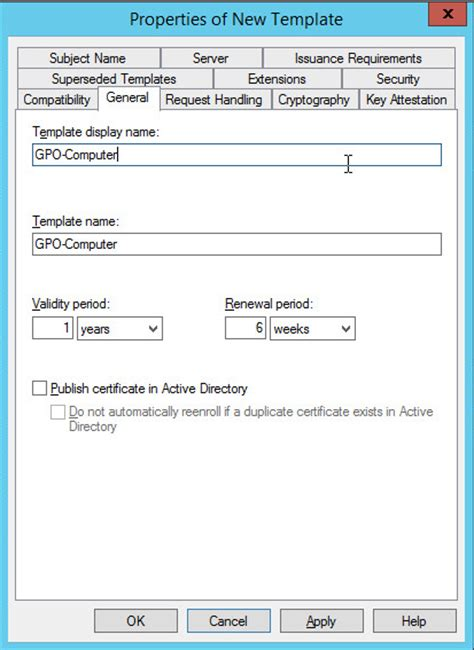 server 2012 configuration certificate templates