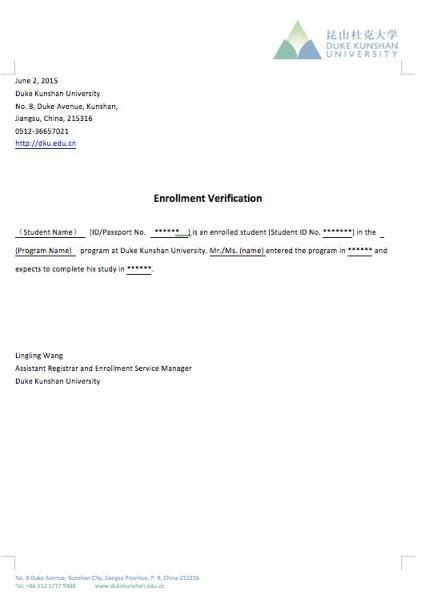 certification letter for enrollment verification of enrollment sle letter gallery