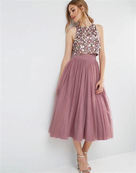 Top Dress asos asos cluster embellished mesh crop top midi dress