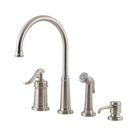 kitchen faucet with sprayer and soap dispenser 2018 pfister lg26 4ypk brushed nickel ashfield kitchen faucet includes sprayer and soap