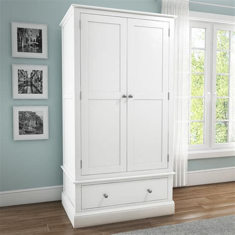 Solid Wood White Wardrobes by Solid Wood 2 Door 1 Drawer Wardrobe In White Hrp009