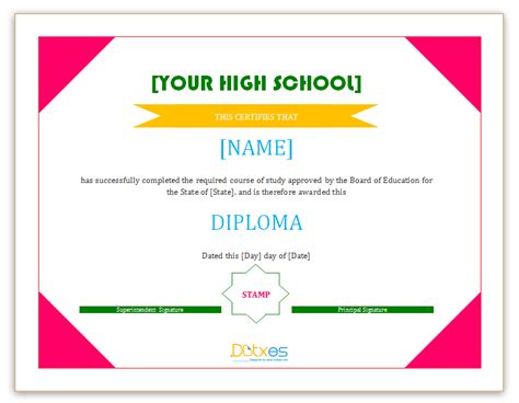 diploma template for word diploma certificate template high school dotxes