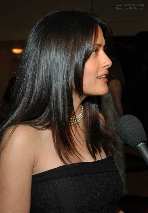 long hair with tapered ends salma hayek wearing her hair in a modern long tapered