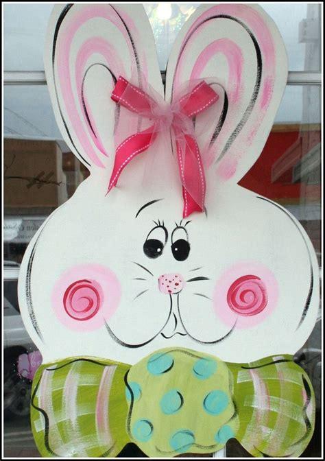 Easter Yard Wood On Door Large Wooden Easter Bunny Door Hanger Decor Painted