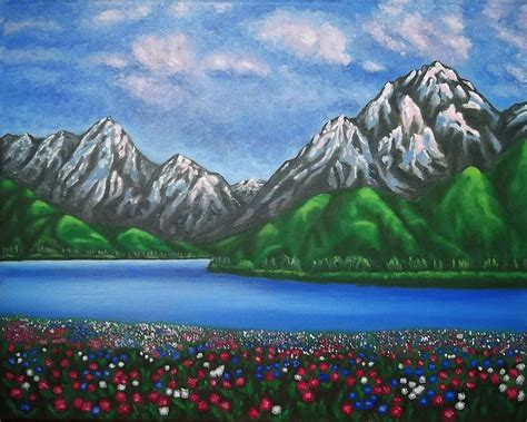 mountain landscape paintings view of alps painting by