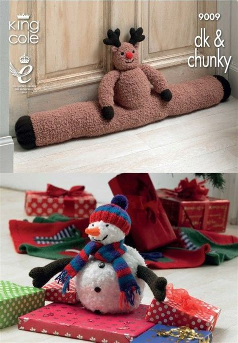 tinsel christmas tree knitting pattern king cole rudolph draught excluder snowman and christmas