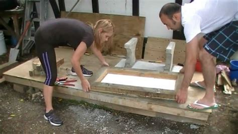 how to build a concrete bench seat making a concrete seat part 4 casting youtube