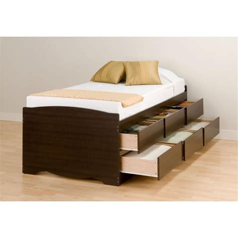 bed with storage drawers prepac espresso tall twin captains platform storage bed