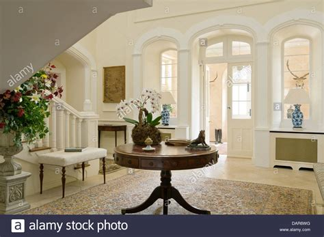 Tables For Entrance Halls Antique Table In Entrance Of Country House Ney Stock Photo Royalty Free