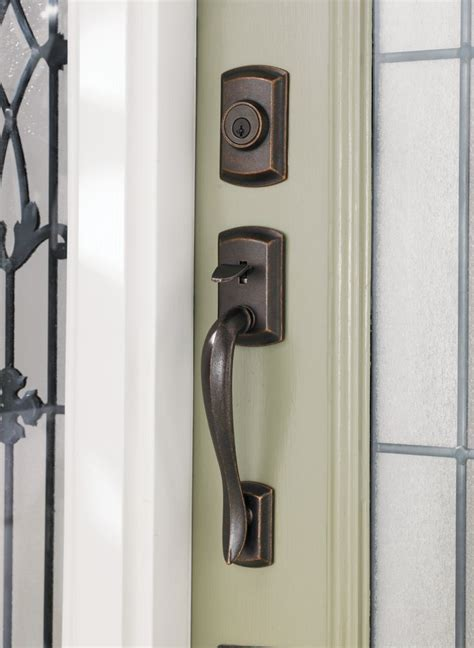 Weiser Interior Door Handles Avalon Handle Set With Brooklane Interior Lever Rustic Bronze Finish