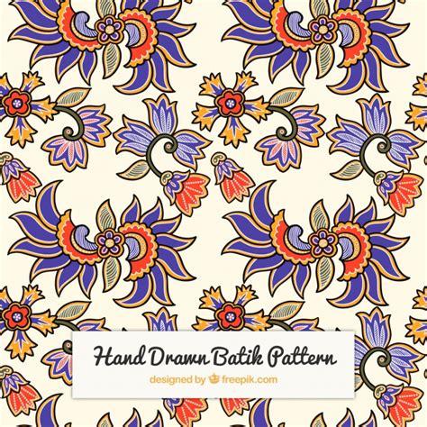 batik pattern free download hand drawn batik flower pattern vector free download